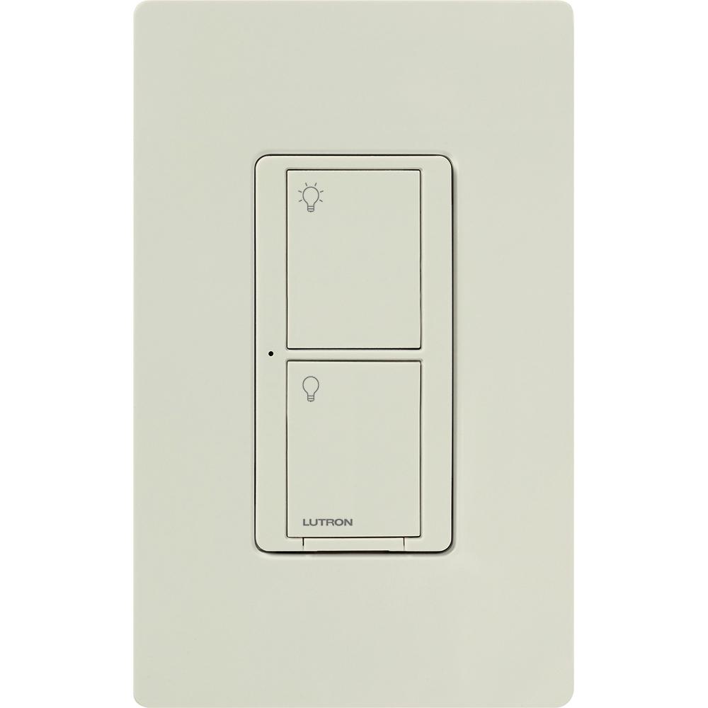 Lutron PD-5WS-DV-LA 120/277 VAC 5 Amp 1-Pole 2-Button Light Almond Radio Frequency Switch