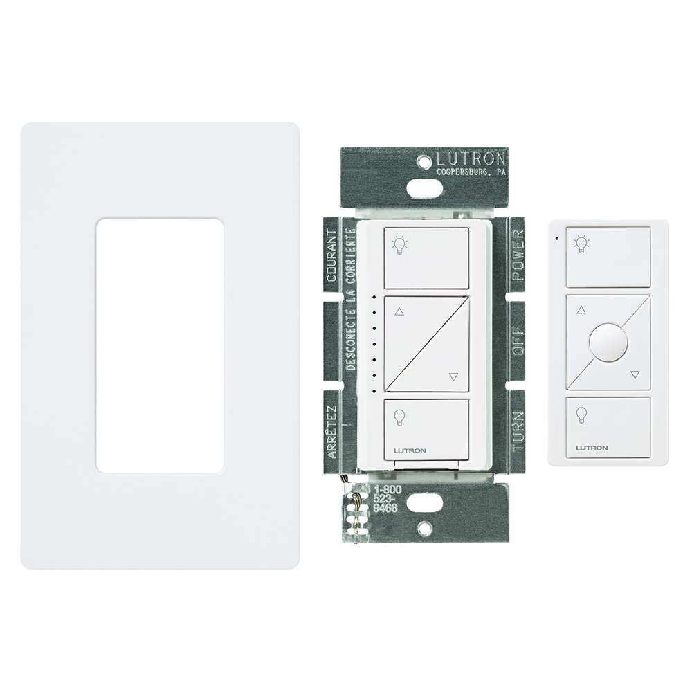 Lutron Electronics P-PKG1W-WH 600/150 W White Wireless In-Wall Dimmer with Remote Control Kit