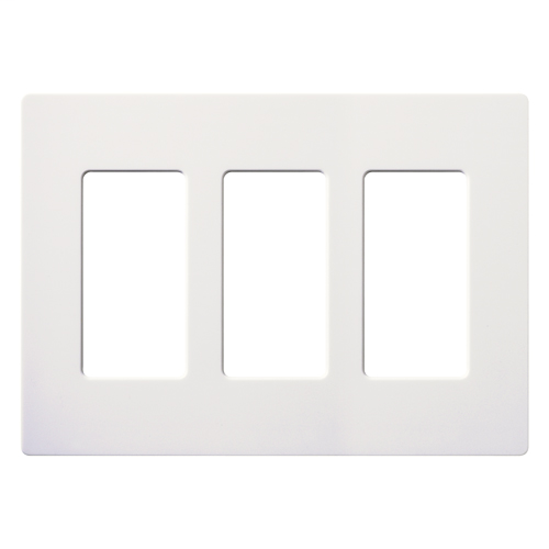 Lutron CW-3-WH 3-Gang White Stainless Steel Standard 3 Dimmer Designer Wallplate