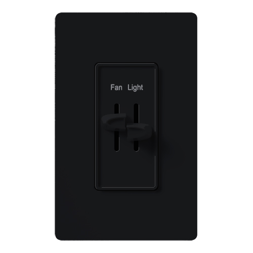 Lutron Electronics S2-LFSQ-BL 1.5 Amp 300 W 120 Volt Black 1-Pole Incandescent/Halogen Fan/Light Speed Control Dimmer
