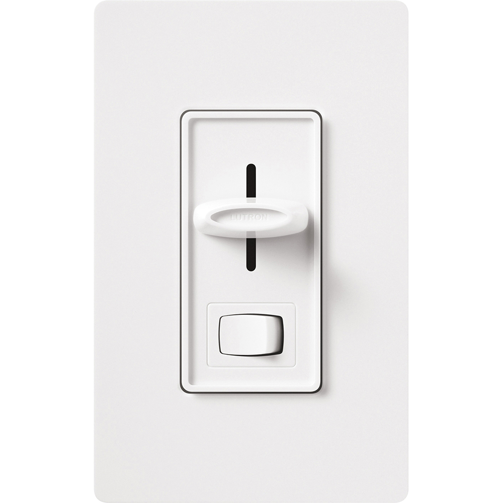 Lutron S-603PGH-WH 1-Pole/3-Way 120 VAC 600 W White Incandescent/Halogen Preset Slide Dimmer with Rocker Switch