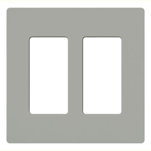 Lutron Electronics CW-2-GR 2-Gang 2-Dimmer Gray Polycarbonate Standard Designer Wallplate