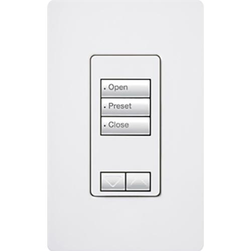 Lutron Electronics RRD-W3BRL-WH 30 Foot 0.5 Amp 120 VAC 0.6 W 3-Button White Wall Mount Designer Keypad
