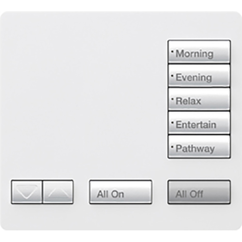 Lutron Electronics RR-T5RL-SW 300 mA 9 VDC 0.6 W 5-Button Snow Raise/Lower Wireless Designer Keypad