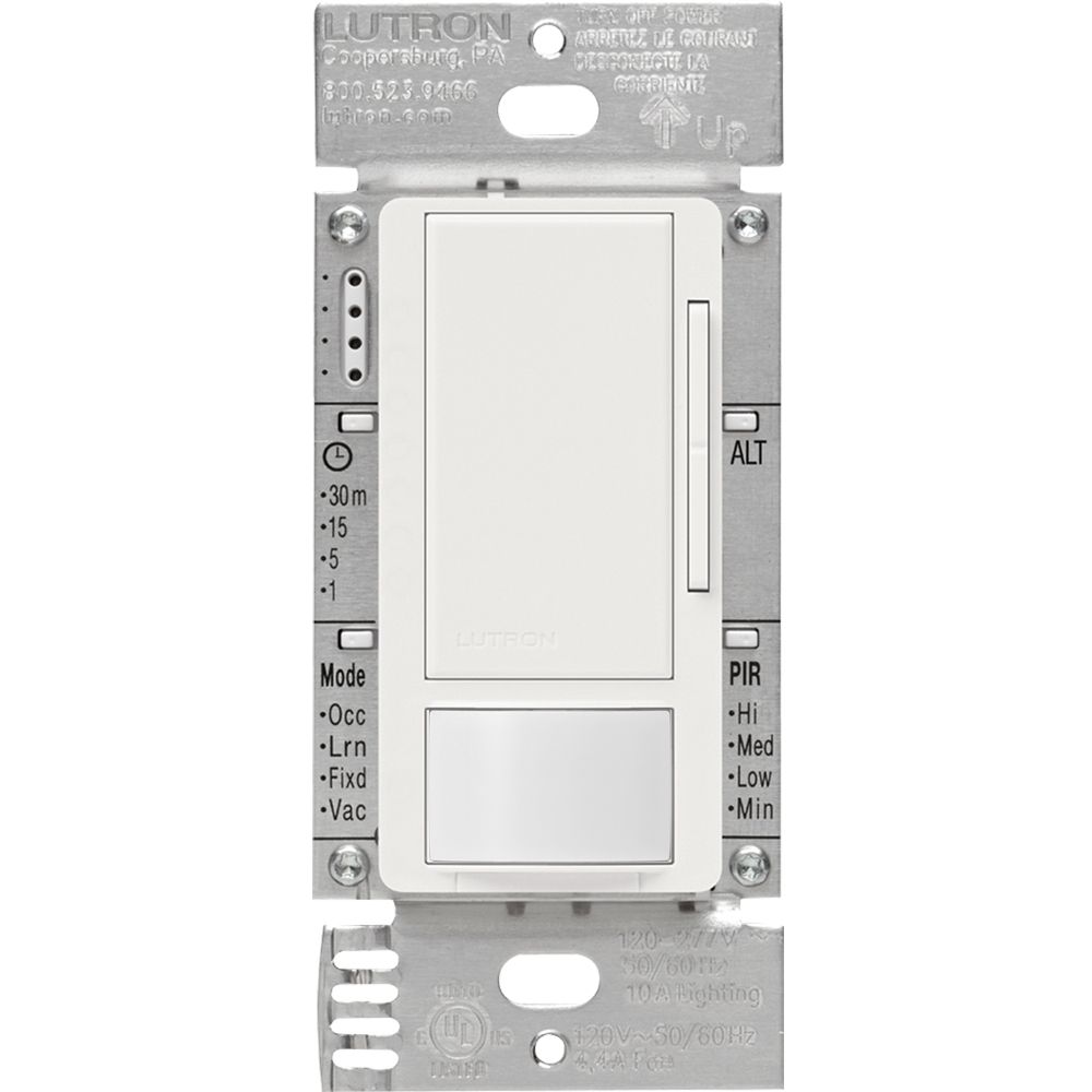Lutron Electronics MS-Z101-WH 120 to 277 VAC White 1-Pole/Multi-Location Occupancy Sensor Switch Dimmer