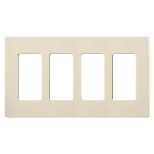 Lutron CW-4-LA 4-Gang Light Almond Polycarbonate Standard 4 Dimmer Designer Wallplate
