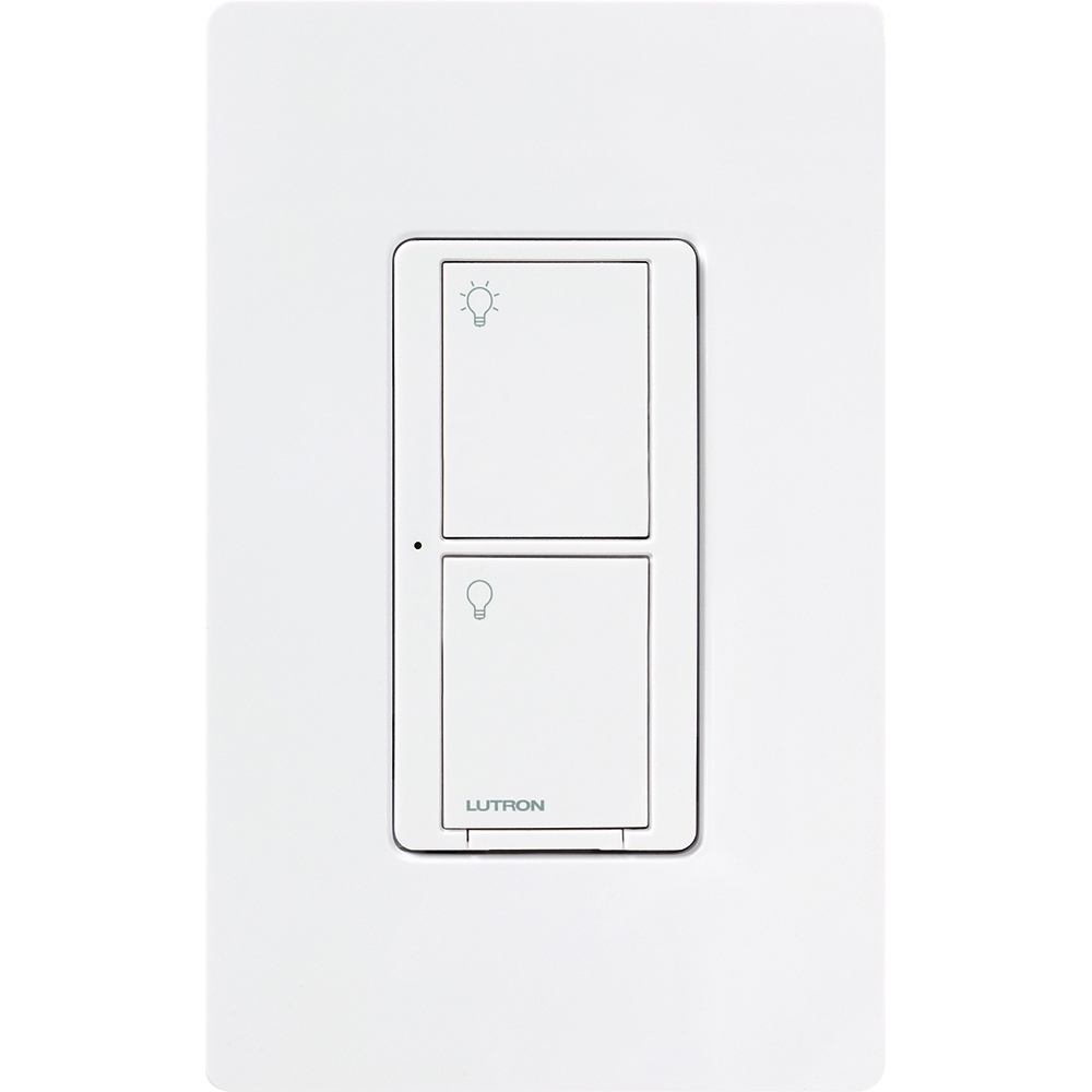 Lutron Electronics PD-5WS-DV-WH 120/277 VAC 5 Amp 1-Pole 2-Button White Radio Frequency Switch