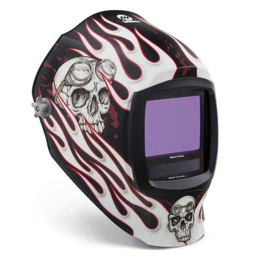 Miller digital Infinity Red/White/Black Welding Helmet Variable Shades 5 - 13 Auto Darkening Lens Clearlight With Departed Graphics