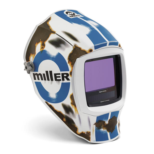 Miller Digital Infinity Blue/Brown/White Welding Helmet Variable Shades 5 - 13 Auto Darkening Lens ClearLight With Relic Graphics
