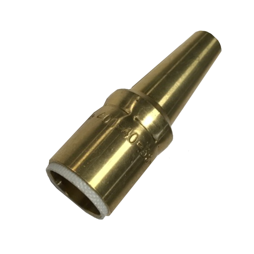 """Mig Nozzle - Brass, Slip-On, Long Taper, Standard Duty, 3/8"""" Bore, 1/16"""" Tip Recess For Air-Cooled Guns"""