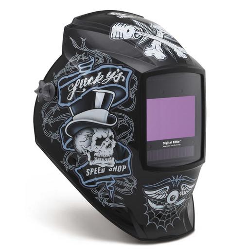 Miller Digital Elite Lucky's Speed Shop Black/Blue/White Welding Helmet With Variable Shades 3, 5 - 13 ClearLight Lens Technology Auto Darkening Lens