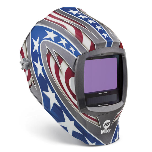 Miller digital Infinity Red/White/Blue Welding Helmet Variable Shades 5 - 13 Auto Darkening Lens Clearlight With Stars & Stripes Graphics