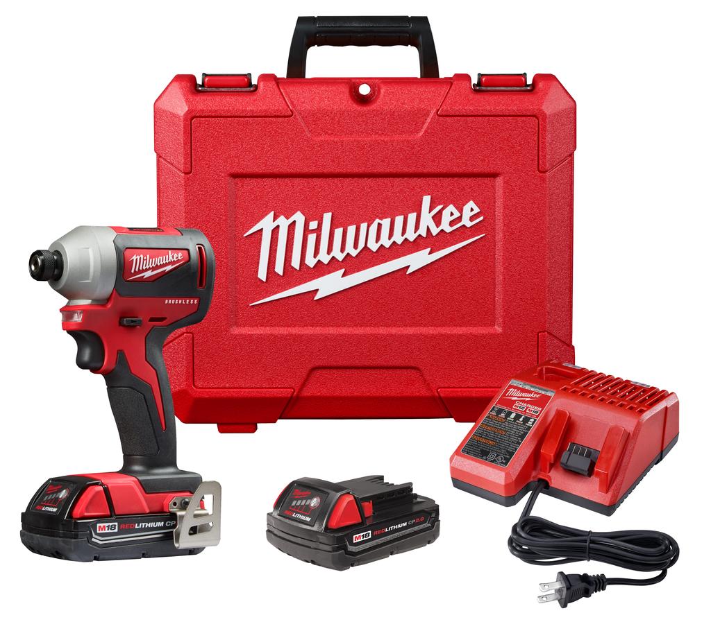 "Milwaukee 2850-22CT M18™ Compact Brushless 1/4"" Hex Impact Driver Kit"