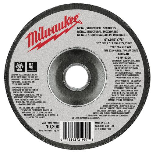 Mayer-6 in. x .045 in. x 7/8 in. Cut-Off Wheel (Type 27)-1