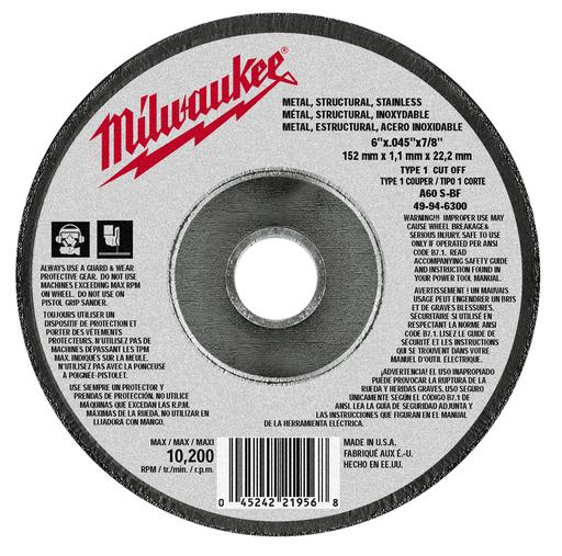 Mayer-6 in. x .045 in. x 7/8 in. Cut-Off Wheel (Type 1)-1