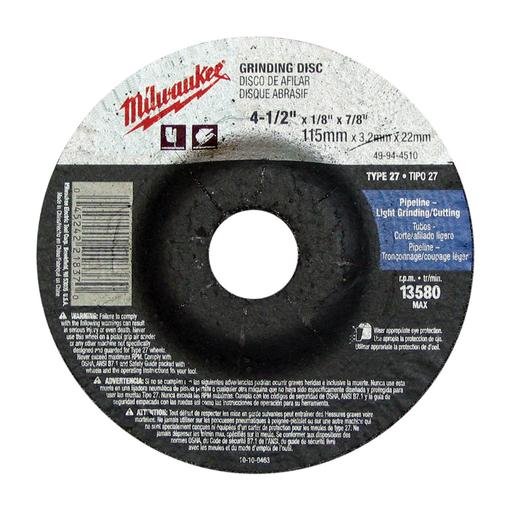 4-1/2 in. x 1/4 in. x 7/8 in. Grinding Wheel (Type 27)