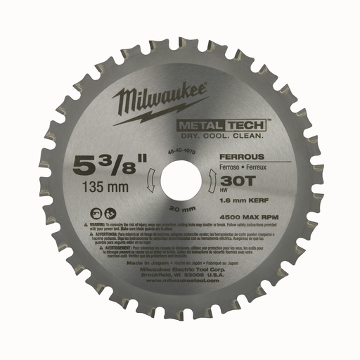 5-3/8 in. 30T Ferrous Metal Circular Saw Blade