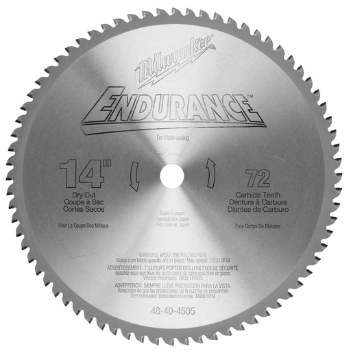 14 in. 72 Tooth Dry Cut Carbide Tipped Circular Saw Blade