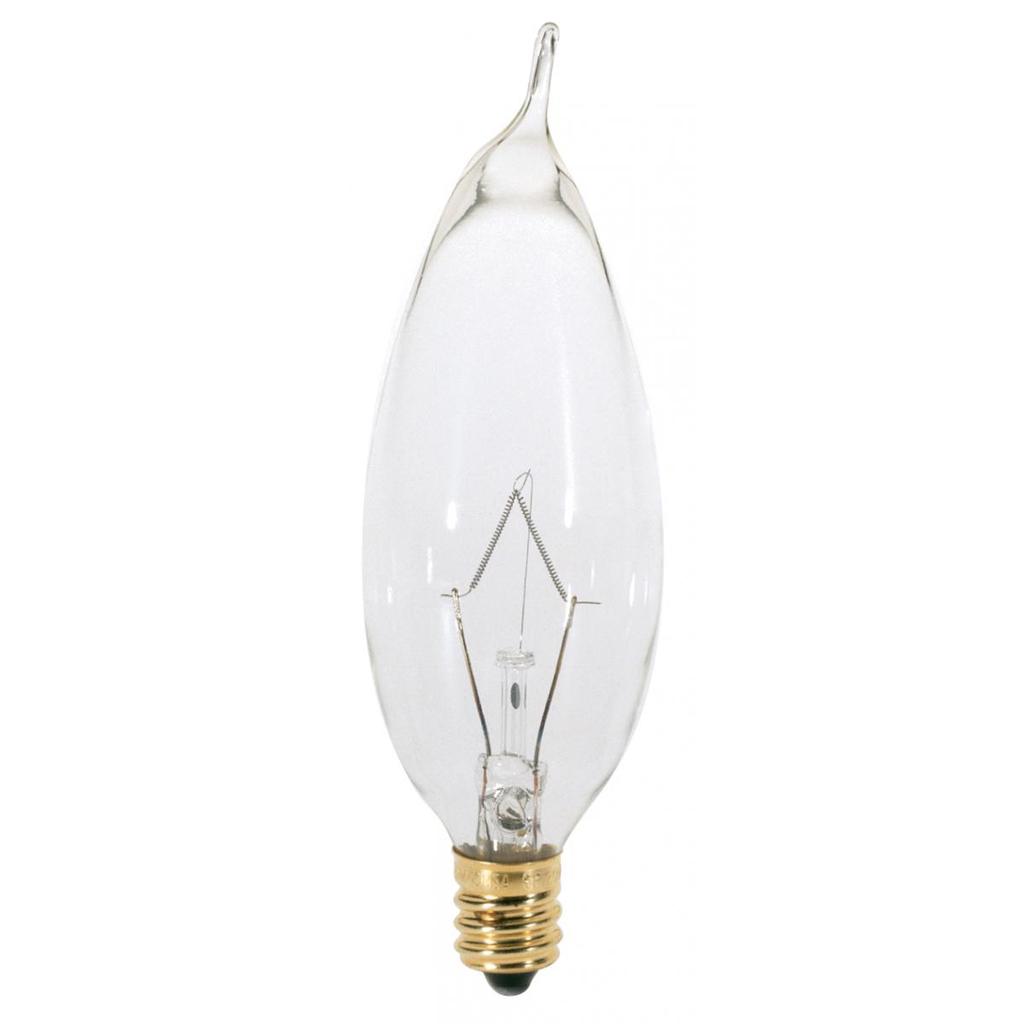 SATCO A3674 25 W 130 Volt 210 Lumen Clear E12 Candelabra Base CA8 Decorative Incandescent Lamp