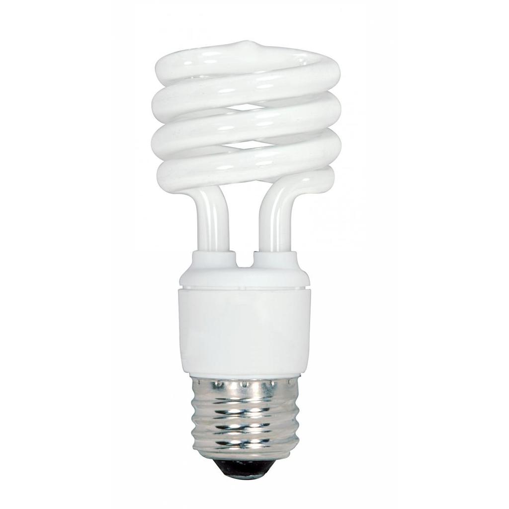 SATCO S6236 13 W 120 Volt 82 CRI 4100 K 880 Lumen E26 Medium Base T2 Mini Spiral Compact Fluorescent Lamp