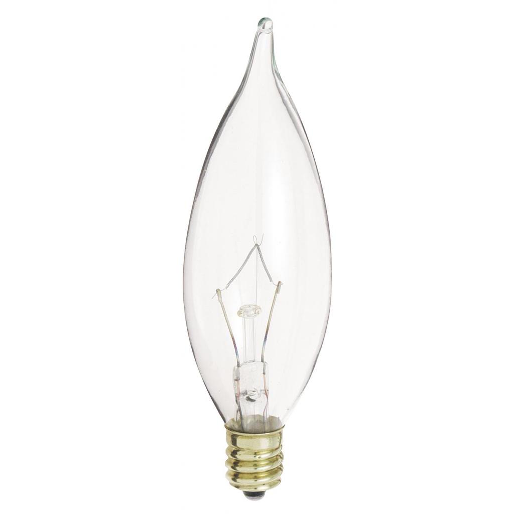 SATCO S3275 40 W 120 Volt 370 Lumen Clear E12 Candelabra Base CA9 1/2 Decorative Incandescent Lamp