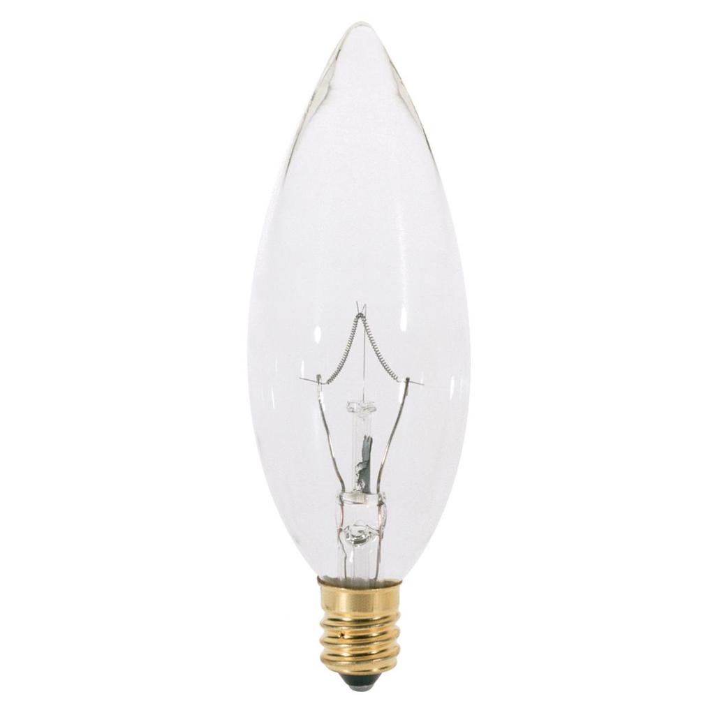 SATCO A3682 25 W 130 Volt 193 Lumen Clear E12 Candelabra Base BA9 1/2 Decorative Incandescent Lamp