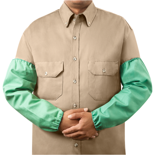 "9 oz Flame Resistant Cotton Sleeves, Standard Elastic, 18"" Green"
