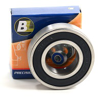 Deep Groove Ball Bearing, 2 Rubber Seals, 25mm Bore Dia., 47mm Outside Dia., 12mm Width, C3 Internal Clearance
