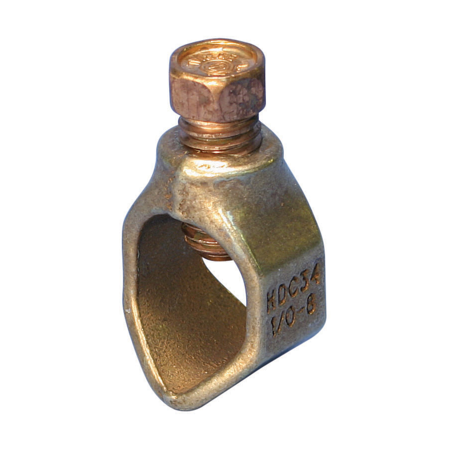 "Mayer-Ground Rod Clamp, Rod to Conductor, Bronze, Silicon Bronze, 3/4"" dia, #8 Solid-1/0 Stranded, 10 mm² Solid-50 mm² Stranded, 9/16"" Wrench-1"