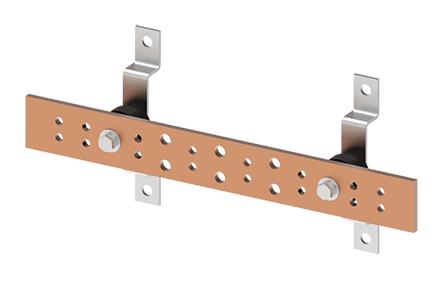Hoffman DGTB412 4 x 12 x 0.25 Inch Copper Telecommunication Ground Bar Kit
