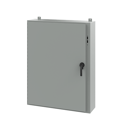Hoffman A48SA3810LPPL 48 x 37.38 x 10 Inch White/Gray 14 Gauge Steel NEMA 12 Wall Mount Disconnect Enclosure with Handle