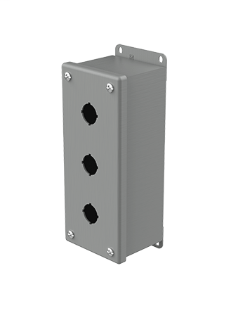 Mayer-Pushbutton Enclosures, Type 12, 3PB x 22.5mm, Gray, Steel-1