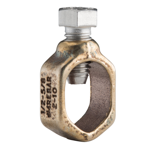 """Mayer-Ground Rod Clamp, Rod to Conductor, Bronze, Silicon Bronze, 1/2""""–5/8"""" dia, #10 Solid-#2 Stranded, 6 mm² Solid-25 mm² Stranded, 1/2"""" Wrench-1"""