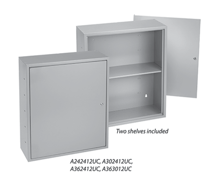 Locking Utility Cabinets with Shelves, Type 1, 24.00x24.00x12.00, Gray, Steel