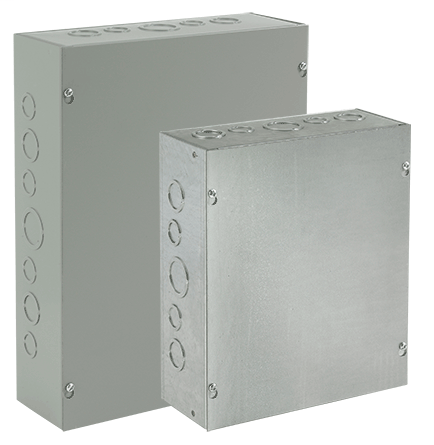 Screw-Cover, Type 1, 12.00x10.00x4.00, Gray, Steel, with Knockouts