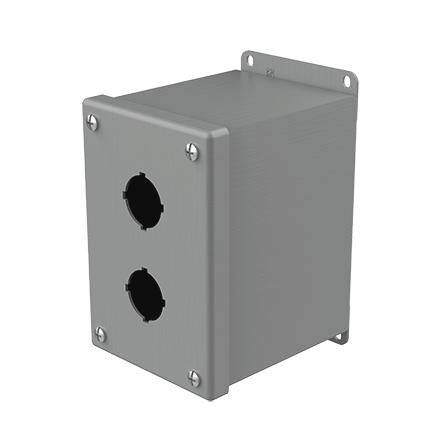 Mayer-Extra-Deep Pushbutton Enclosures, Type 12, 2PB x 30.5mm, Gray, Steel-1
