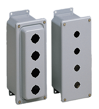 Mayer-Drawn Pushbutton Enclosures, Type 4, 2PB x 30.5mm, 5.75x4x2.75in, Gray, Steel-1