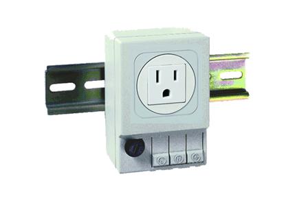 NEMA 5-15R DIN-Mounted Outlet, No fuse, 3.54x2.44x1.97, Lt Gray, Plastic