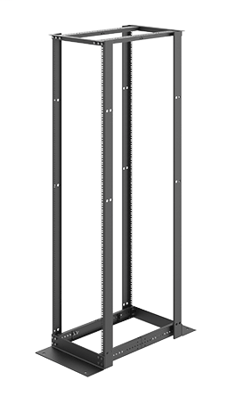 Mayer-4-Post Open Frame Rack, 84.00x20.25, 45U, Black, Aluminum, Square-1