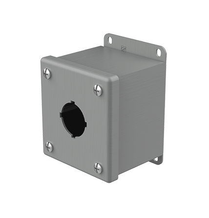 Mayer-Pushbutton Enclosures, Type 12, 1PB x 30.5mm, Gray, Steel-1