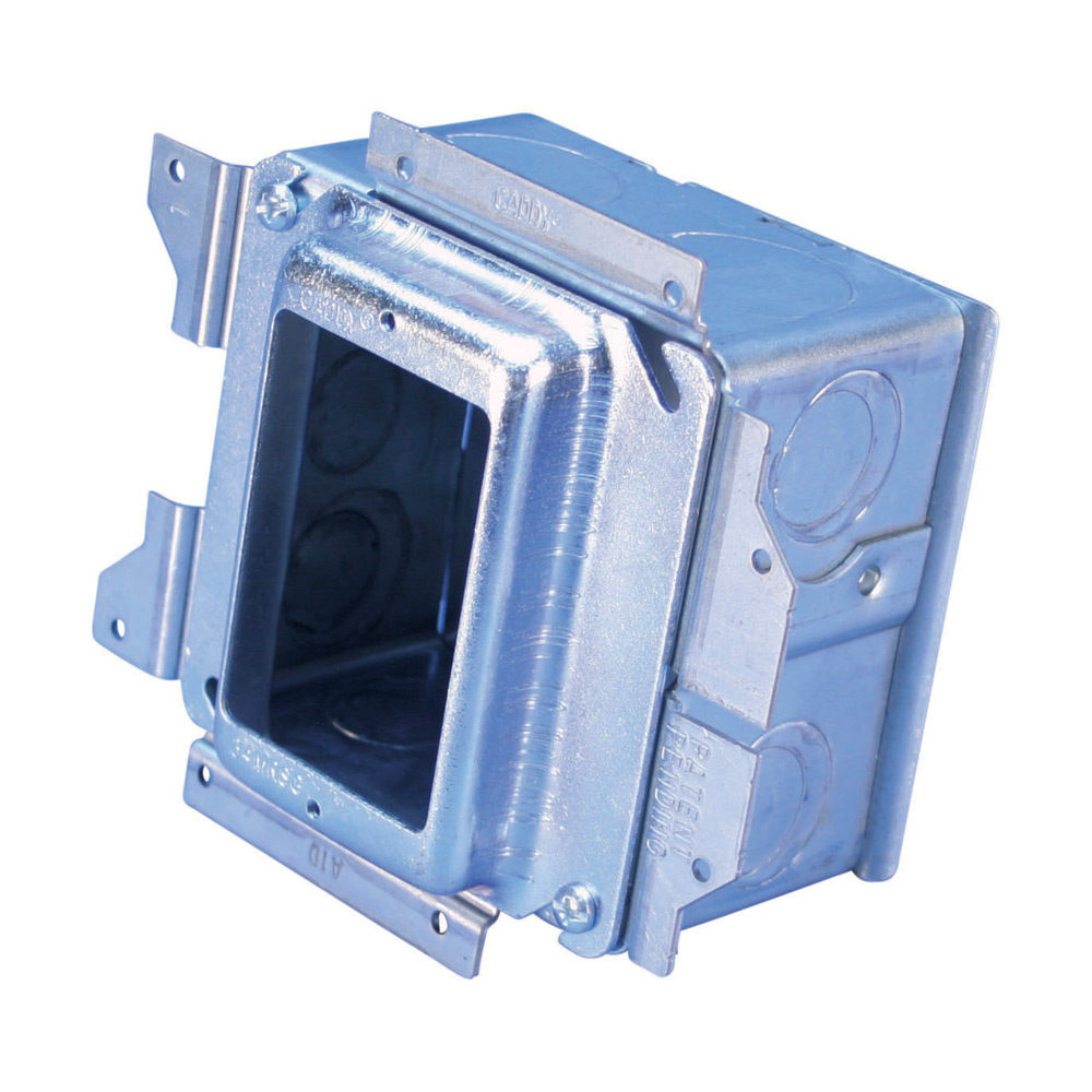 """Mayer-nVent CADDY All-in-One Stud-Mounted With Removable Mud Ring, 1 Gang, No Ground, 5/8"""" Drywall, 3 5/8""""-1"""