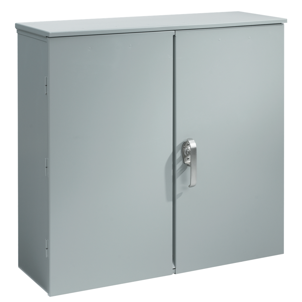 Mayer-Hinged Double-Door with 3-Point Latch and Wood Panel, 40x40x14, Steel-1