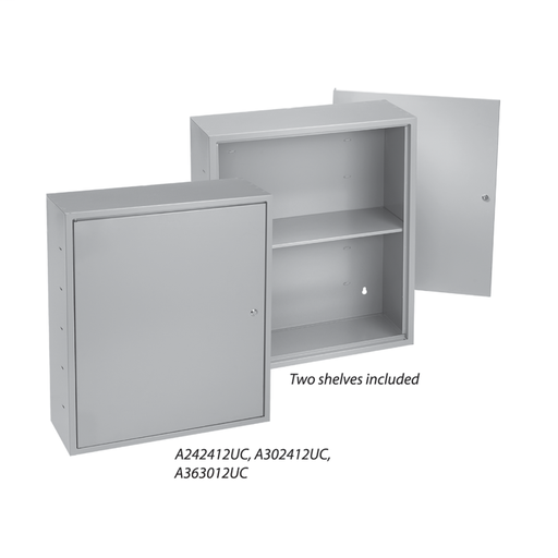 Locking Utility Cabinets with Shelves, Type 1, 30.00x24.00x12.00, Gray, Steel