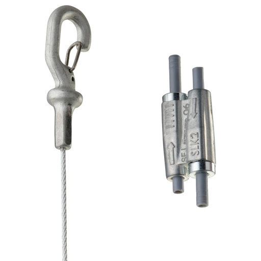 Mayer-Tool-free 1.5mm Wire Rope Hanger Kit with Hook End-Fitting - 16.4' Long - 44LB-1