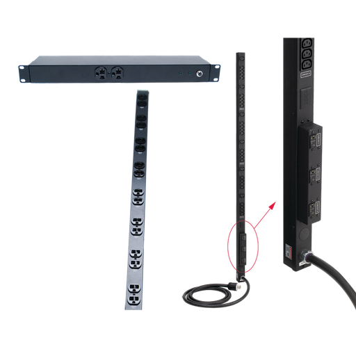Rack- and Panel-Mount PDU, 19in length, Black, Steel, 10 Rec, 15A, Surge