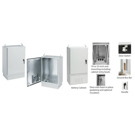 FTTX Fiber Optic Cabinet Package, Type 4X, 50x30x20, Lt Gray, Al, Dual