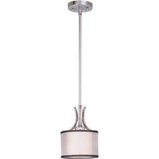 MAXIM 93031SWSN Orion 1-Light Mini Pendant 75W MED WITH CHARCOAL SHEER FABRIC OUTER SHADE