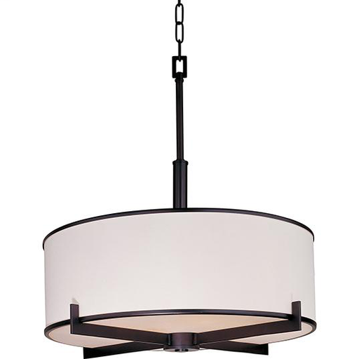 MAXIM 12053WTOI Nexus 4-Light Pendant OIL RUBBED BRONZE FINISH WITH WHITE FABRIC DRM SHADE