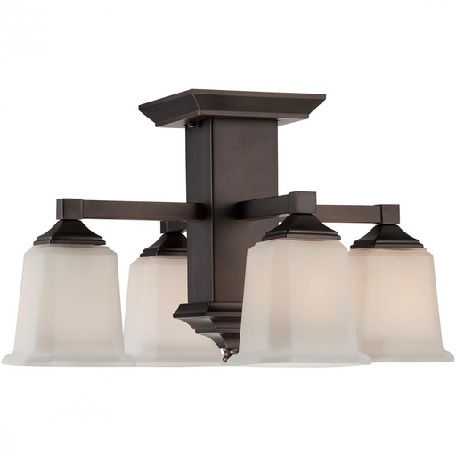 QUO QF1213SHO HARBOR BRONZE/OPAL ETCHED SEMI-FLUSH 4-100W MED