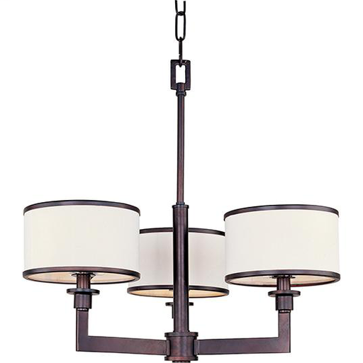 MAXIM 12054WTOI Nexus 3-Light Chandelier OIL RUBBED BRONZE FINISH WITH WHITE FABRI DRUM SHADES